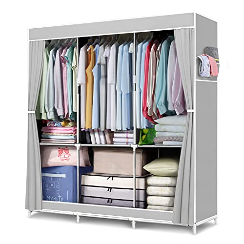 """FUNFLOWERS Portable Wardrobe Storage Closet, Clothes Organizer with Oxford Cloth Fabric, Storage Shelves + Hanging Sections + Side Pockets, Durable & Easy to Assemble, 50"""" L x 18"""" D x 63"""" H, Grey"""