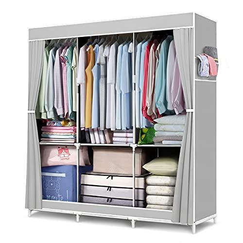 FUNFLOWERS Armario portátil de almacenamiento, organizador de ropa con tela Oxford, estantes de almacenamiento + secciones colgantes + bolsillos laterales, duradero y fácil de montar, 127 x 45.7 x 160 cm, gris