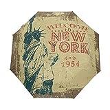Antigua Estatua De Nueva York Paraguas Plegable con Apertura y Cierre Automático Antiviento Protección UV Ligero Viajes Paraguas paraPlaya Mujeres Niños Niñas