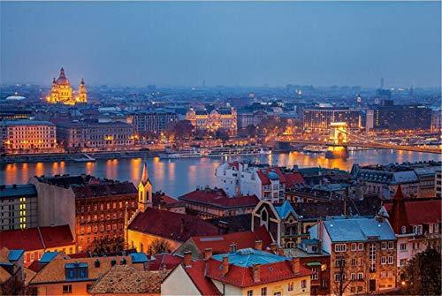 SuperPower® 1000 piezas Europea Budapest Cielo Nocturno Horizonte Lago Edificios Paisaje Fotografía Adultos Ejercicio Cerebro Juegos de suelo Puzzles de madera