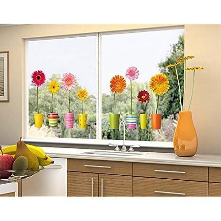 Klebefieber Fenstersticker Gerberat/öpfe B x H 40cm x 18cm