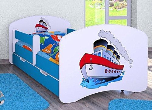 HB Kinderbett mit Matratze und Bettkasten - NEU , Verschiedene Motive Für Junge Blau (180x90cm ohne Schublade, SCHIFF)