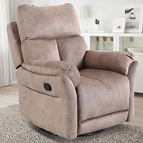 CANMOV Swivel Rocker Recliner Chair, Manual Reclining Chair, Single Seat Reclining Chair, Chocolate