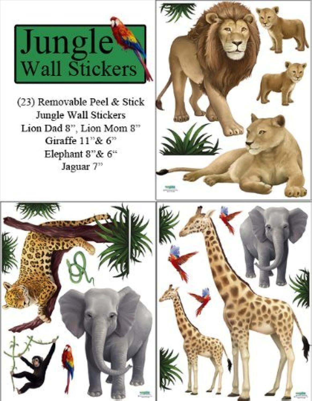 distribución global Animales de la jungla de parojo Adhesivos (23) Peel & & & stick salvaje selva Safari Niños pegatinas de parojo  venta caliente