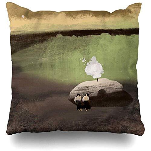 jonycm bank kussens groene Sauna dorp natuur dag bos gras gooien kussenslopen kussenslopen huis decoratieve kussensloop kussen voor auto bank stoel woonkamer 45X45cm