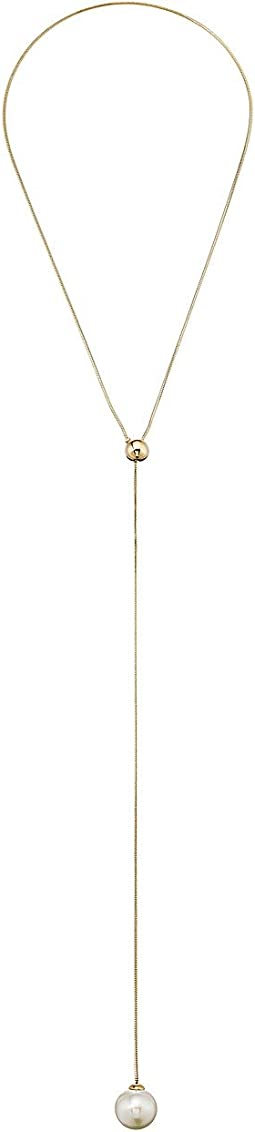 "16mm Round Gold Plated Adjustable ""Y"" Necklace 27"""
