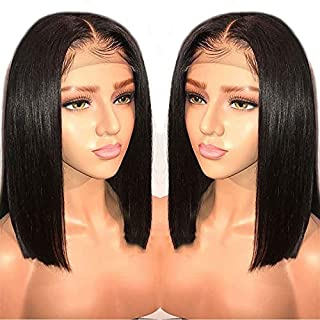 LIAZAHAIR 13x6 Deep Part Short Bob Lace Front Wigs Human Hair Pre Plucked Full End 150 Density Brazilian Straight Bob Wigs with Baby Hair for Women (12 Inch, Natural Color)