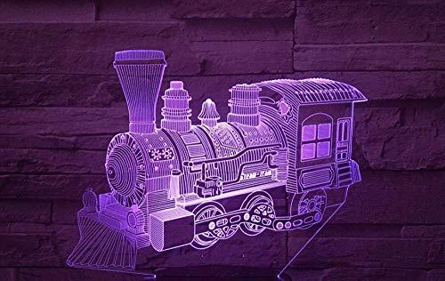 3D visueel nachtlampje met 7 kleuren veranderende kleuren, trein vorm, touch control, led-tafellamp, acrylplaat, nachtlampje, kerstcadeau, sfeer, nachtlampje, decoratie, bureaulampje