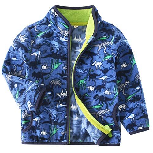 JiAmy Bebé Niños Polar Chaquetas de Lana Abrigos Niñas Ropa de Abrigo Caliente Cremallera Chaqueta para Primavera Otoño Azul 1-2 Años