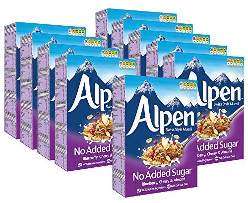 10er SET Weetabix 3672 Alpen Müsli Blueberry, Cherry & Almond 560 g, ohne Zuckerzusatz