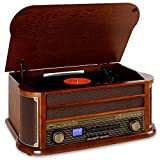auna Belle Epoque 1908 - Tocadiscos estéreo Retro, Accionamiento por Correa, Radio Digital, Reproductor de CD, MP3, RDS, Casete, USB, Digitalizador, Mando a Distancia, Bluetooth, Marrón