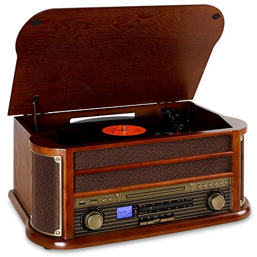auna Belle Epoque 1908 • Impianto Stereo Retrò • Giradischi • Bluetooth • Radio AM/Fm • Display Banda di Frequenza • USB • Lettore CD e Cassette • Marrone