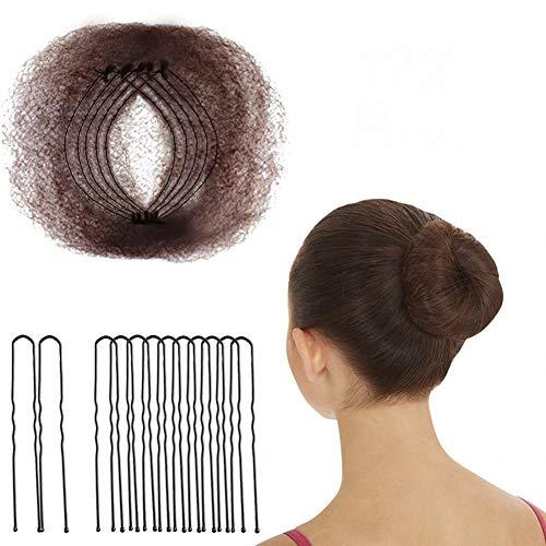 hugttt Haarnetze, unsichtbar, 50 cm, elastischer Rand, Netzstoff und 72 Stück, U-förmige Nadeln...