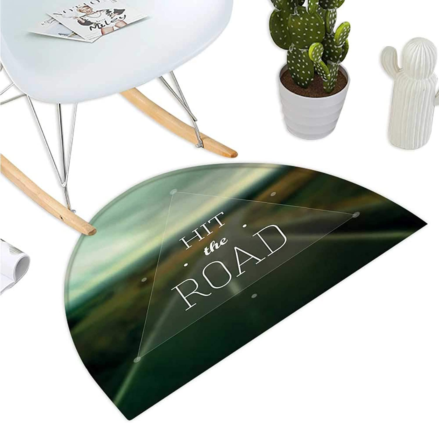 Adventure Semicircle Doormat Hit The Road Quote Inside a Transparent Triangle with bluerred Highway Background Halfmoon doormats H 39.3  xD 59  Multicolor