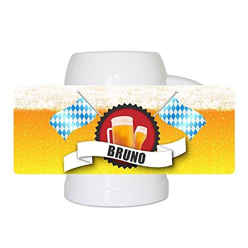 Bierkrug mit Name Bruno und schönem Bier-Motiv mit blau-weißen Flaggen | Bier-Humpen | Bier-Seidel