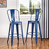 Glitzhome 2 Set Vintage Metal Bar Stool High Chairs Indoor Outdoor Barstool Dining Chairs with Back Navy Blue