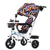 Bicicleta de Triciclo para Cochecito de bebé Exclusivo para niños de 1-6 años Carretilla para niños | Embrague | Arnés De Seguridad | Frenos | Canasta De Almacenamiento Grande