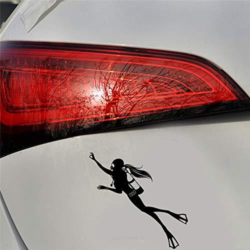 16,8X16,4 Cm Spezielle Aufkleber Mit Tauchen Bewegung Comic-figuren Der Taucherin Auto Aufkleber Laptop Aufkleber schwarz