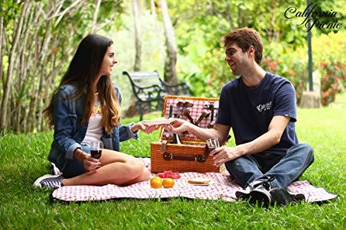 Picnic Basket for 4 Person | Red Picnic Hamper Set | Folding Picnic Blanket | Picnic Table Set | Picnic Plates | Picnic Supplies | Summer Picnic Kit | Picnic Utensils Cutlery Set Flatware