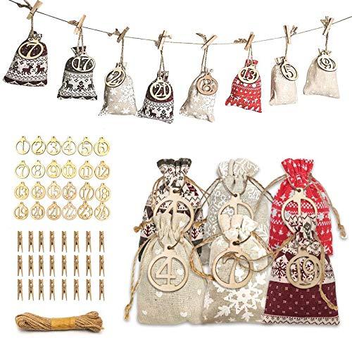 Halcyerdu 24 Pcs DIY Calendario de Adviento Navidad, Bolsas de Regalo Navidad, con 24 Adhesivos Digitales de Adviento, Bolsa de Tela de Tema navideño
