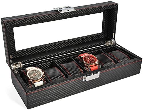 T.T-Q Caja de exhibición de 6 maletas de mano Cajas para relojes cajas caja de reloj mecánico pulsera de joyería caja de acabado regalo de cumpleaños para almacenamiento y visualización 30 * 11 * 8 cm