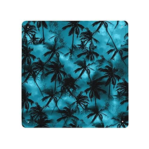 DECISAIYA Carteles de Metal Camisa de palmera Patrón tropical Siluetas negras Hojas de palmera en un cielo azul Placa de la Pared Póster Idea de Regalo para Garage,Taller,Casa o Bar Decorativo 30x30cm