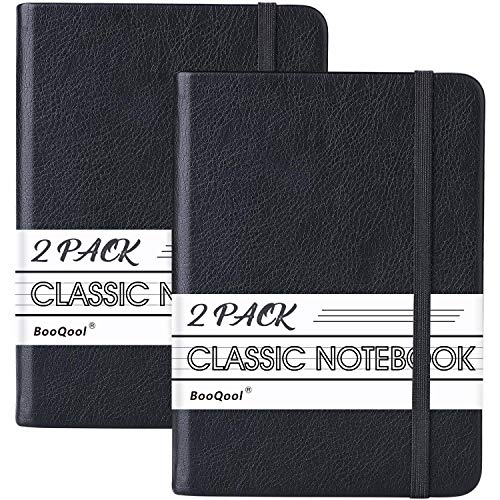 Ruled Pocket Notebook Journals - 2 Pack Ruled/Lined Notebooks, 5.7 × 4.1 in, Premium Thick Paper Faux Leather Classic Writing Notebook