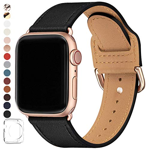 POWER PRIMACY Bands Compatible with Apple Watch Band 38mm 40mm 42mm 44mm, Top Grain Leather Smart Watch Strap Compatible for Men Women iWatch Series 5 4 3 2 1 (Black/Rosegold, 42mm/44mm)
