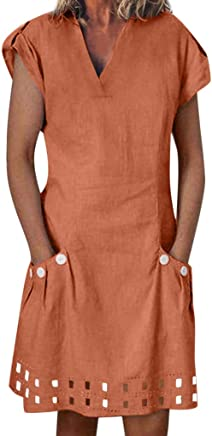 NRUTUP Women Casual Solid Ruffled Pockets O-Neck Shift Daily Buttoned-Decor Dresses NRUTUP-top