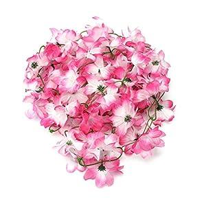 Silk Flower Arrangements ShineBear Home Garden Hanging Artificial Fake Silk Azalea Rattan Flower Vine Wedding Party Decor Silk Flower and Plastic Rattan Ivy - (Color: Pink)