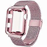 INZAKI Bracelet avec Coque pour Apple Watch 44mm, Boucle en Acier Inoxydable avec Couvercle Protection d'Écran pour iWatch...
