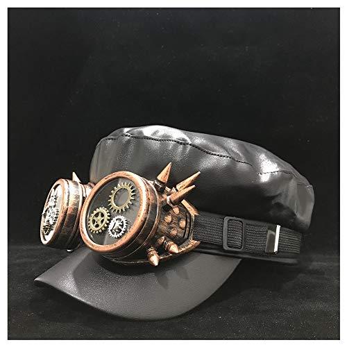 LHZUS Sombreros Clases de Steampunk Mujeres de los Hombres de Cuero Real de la Boina Sombrero con Equipo de Viaje al Aire Libre Casual Sombrero Retro Sombrero Salvaje Tamaño 56-58cm Moda del Sombrero