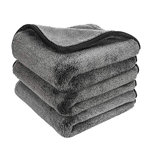 GTF Microfiber Car Cleaning Cloths, Upgraded 1200gsm Ultra-Thick Cars Drying Towel Microfiber Cloth for Car and Home Polishing Washing and Detailing 16'' x 16''(3 Pack)
