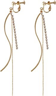 Screw Back Clip on Earring Clip for No Piercing Crystal Long Tassel Dangle Gold Plated for Teens