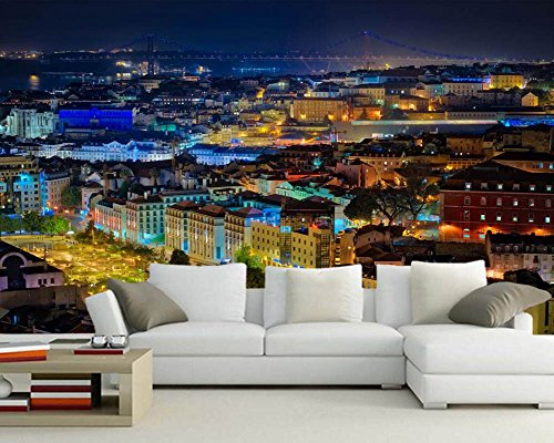 Preisvergleich Produktbild WH-PORP Portugal Houses Street Night City Building 3D tapete, Living Room-450cmX300cm