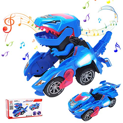 N/T Transforming Dinosaur Toys, LED Dinosaur Transformer Toys with Music, 2 in 1 Automatic Dinosaur Transformer Car Toy for 3+ Years Old Kids