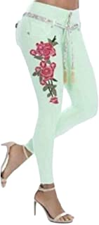 Womens Stretch Embroidered Washed Skinny Jeans Denim Pencil Pants