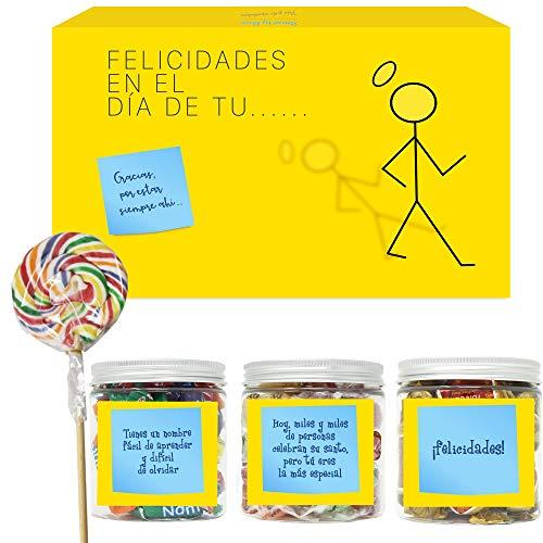 SMARTY BOX Caja Regalo Chuches Caramelos y Gominolas Felicitar el Santo para Hombre y Mujer, Pareja, Amigos, Cesta Golosinas con Mensajes Dulces sin Gluten, Fabricado en España