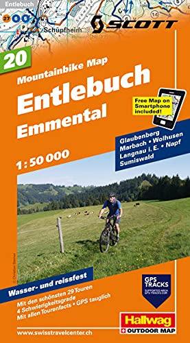 Mountainbike-Karte 20 Entlebuch (Napf) 1 : 50 000: Glaubenberg, Marbach, Wolhusen, Langnau i. E., Napf, Sumiswald, Mit den schönsten 29 Touren, 5 ... included (Hallwag Mountainbike-Karten)