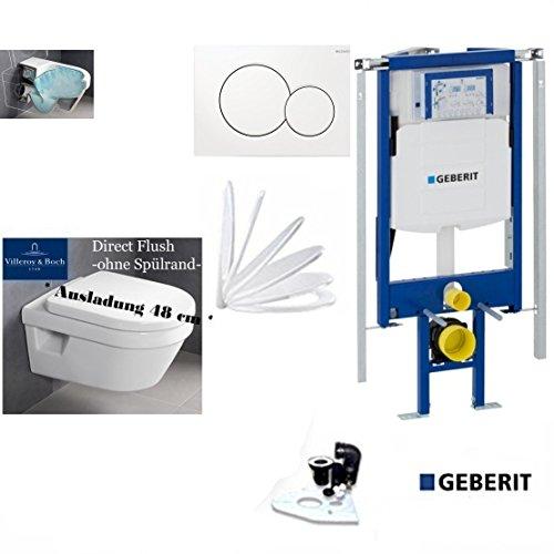 Geberit Duofix UP 320 ECK Vorwandelement mit Sigma01 WEISS, V&B Architectura Compact AL: 480 mm WC DirektFlush Spülrandlos, Tiefspül-WC, inkl. Sitz,Ceramicplus
