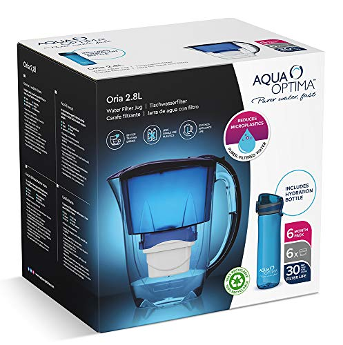 Aqua Optima Kühlschrank-Wasserfilterkanne zur Reduzierung von Mikroplastik, Chlor, Kalk und Verunreinigungen, blau, 2,8 l