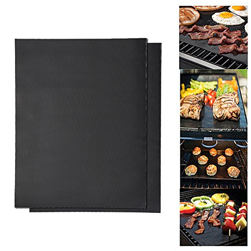 electric griddle for campings Simlug Non Stick BBQ Baking Mat Reusable Grill Roast Mat Sheet fo rOutdoor Picnic Fry Cooking(2 Piece)