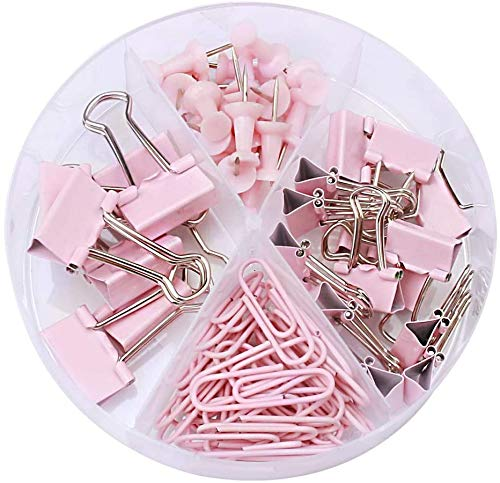 SmarTopus 72-PACK Binder Clips Paper Clips Push Pins Set with Clear Box for Office School and Home SuppliesDesk Organized 72 PCS Assorted Sizes (Light Pink