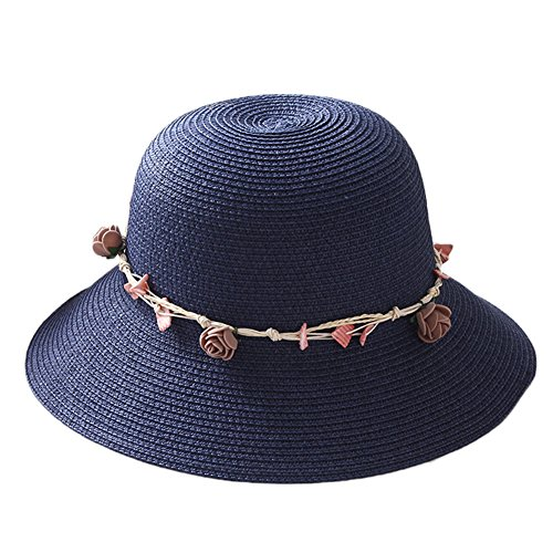 Demarkt Packable Fisherman Hats for Women Ladies Summer Sun Hats Straw Bucket Hats with Seashell Garland Suitable for Travel Beach Fishing Riding Wide Sun Cap Navy Blue