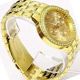 Geneva Crystals Gold Tone Metal Fashion Quartz Watch