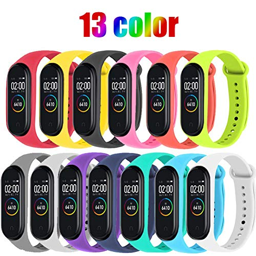 STN Geeignet für Xiaomi Mi Band 4 Armband, Silikon Ersatzbänder für Xiaomi Mi Band 4 Smart Armband NFC Farbdisplay Strap (13PCS)