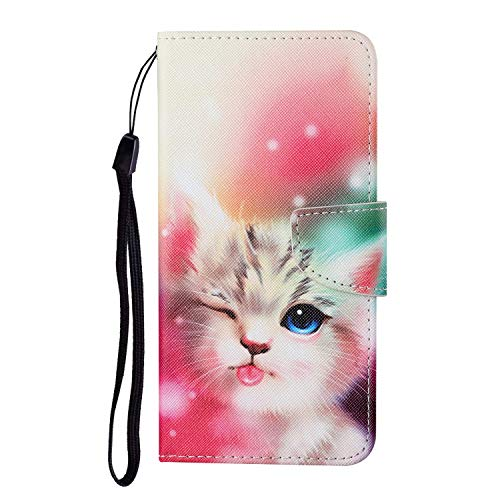 JZ Painted Design Wallet Funda For para Xiaomi Mi 10T Lite 5G Flip Cover with [Stand][Wrist Strap] - Wink Cat