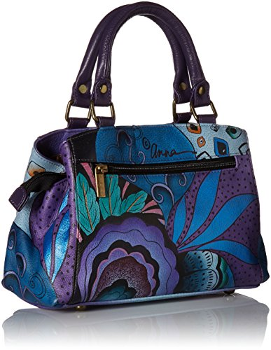 Anna by Anuschka Satchel Handbag | Genuine Leather | Tribal Potpourri Eggplant