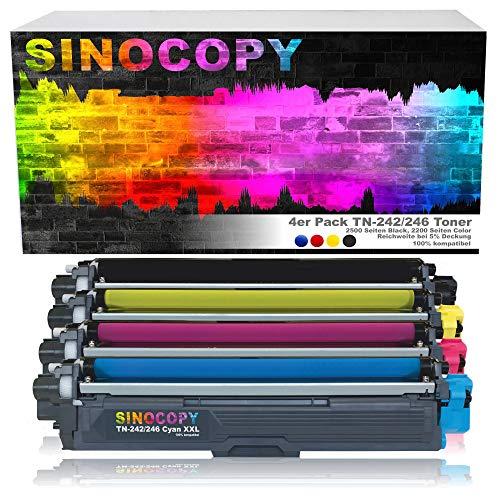 4 SinoCopy XXL Toner für Brother TN-242 TN-246 HL-3142 3152 3172 CW CDW DCP9017CDW - Schwarz je 2.500 Seiten, Color je 2.200 Seiten TN 242 TN-242 TN 246 TN-246