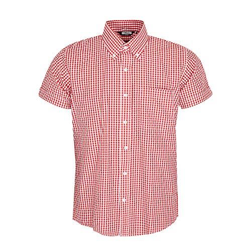 Relco - Gingham - Herren Kurzarm-Hemd - klassisch durchgeknöpft - Rot - XL